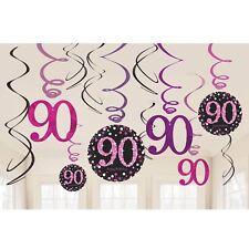 12pk Pink Sparkling Celebration 90th Birthday Party Swirl Decorations