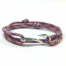 Handmade Stars and Stripes Adjustable Silver Plated Fish Hook Paracord Bracelet