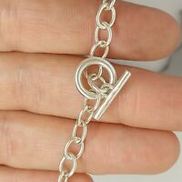 Sterling silver 925 solid jewellery bracelet 7 inches chain T bar  S96