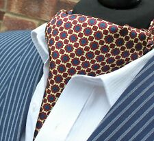 Silk Cravat Ascot.Quality Hand Made in UK.Light Gold Blue Red DBC11-20413-1
