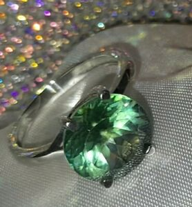 925 Sterling Silver Fern Green Topaz Solitare Ring, UK Ring Size N 1/2