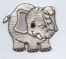 Iron On Embroidered Applique Patch Childrens Gray Elephant