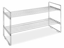 2 Tier Stackable Steel Shoes Footwear Shelf Holder Rack Home Office Garage Room