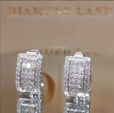 925 Silver Gifts Fashion Crystal Stud Earrings Studs Women Girl Jewelry