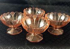 4  Art Deco Bowls Ice cream Sundae Cocktail dishes  Pink Orange  Glass 1930s