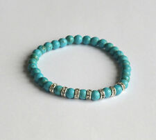 Bracelet with 6 mm dyed natural Howlite beads,  turquoise