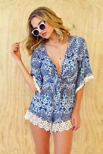 Brand New - Women's Blue Lace Summer Playsuit Size XS