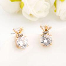 Gorgeous Stunning 18K Gold Filled Women 8mm SIMULATED DIAMOND Stud Earrings