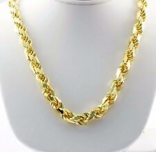 "651 gm 14k Solid Yellow Gold Men's Diamond Cut Rope Chain Necklace 32"" 14 mm"