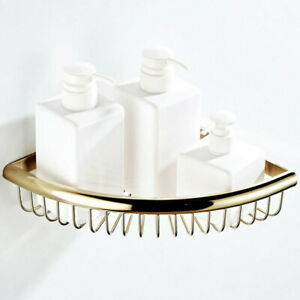 Polished Gold Corner Shower Rack Caddy Bathroom Soap Toiletries Shelf Basket
