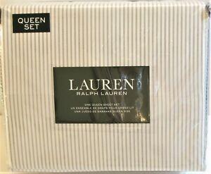 Ralph Lauren 4 PC Cotton Sheet Set Ticking Stripe Grey White Queen - NEW