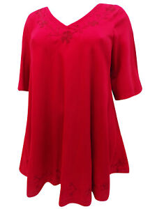 NEW Eaonplus RED TunicTop with Embroidered Trim & Curved Hem  - Size 18 to 32