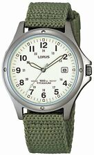 Lorus Gents Sports watch white dial Green Military Style Canvas Strap RXD425L8