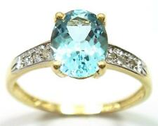LADY'S 9KT YELLOW GOLD NATURAL BLUE TOPAZ & DIAMOND RING SIZE 7     R1275