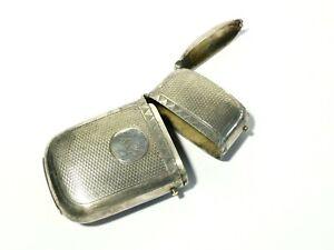 Antique Silver Plated Combination Cigar Cheroot Holder & Vesta Case AG Initials