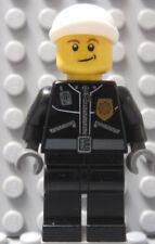 LEGO Minifig Police Officer Leather Jacket God Badge w/ Police on Back White Hat