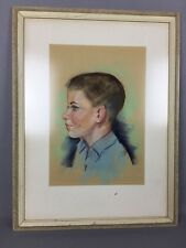 Original Chalk Pastel Drawing Profile Portrait Of Young Boy From 1965 Signed