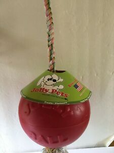 """Jolly Pets ROMP-n-ROLL 8"""" REALLY BIG DOG TOY Weights 1lb14oz & Floats w/24"""" Rope"""