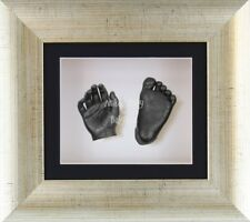 New BabyRice 3D Baby Casting Kit Set Antique Silver Frame Pewter Foot Hand Casts