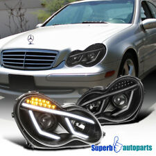 Black 01-07 Benz W203 C-Class Projector Headlights W/ LED DRL Signal Lamps Pair