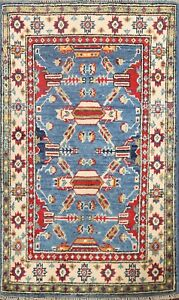 Vegetable Dye Geometric Super Kazak Oriental Area Rug Hand-knotted 2'x3' Carpet