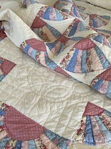 Vintage Pink And Ivory  Calico Fan Cotton Quilt