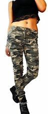 Röhre/Tregging Damen-Hosen im Cargo, Militär-Stil mit Mittel und Baumwollmischung
