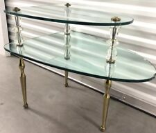 Vtg Italian 2 Tier Hollywood Regency Gl Mirror Side Table With Br Legs