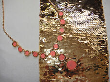 B.NEW Auth.KATE SPADE STATEMENT NECKLACE GOLD -Tone CORAL GRAY MARBLE lk. STONES