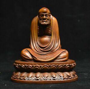 Chinese Boxwood Wood Carving Sit Arhat Damo Bodhidharma Dharma Buddha Statue