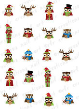 "20 Nail Decals *CHRISTMAS OWLS ASSORTMENT""  Water Slide Nail Art Decals  CUTE"
