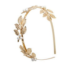 Bridal Hair Bands Gold Leaves Vintage Pearl Wedding Tiara Headband Girls Crown