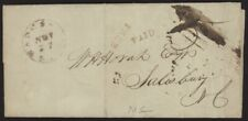 1847 US Stampless folded letter w/Wadesboro, NC pmk & Free & Paid cancels