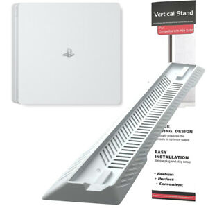 White Vented Vertical Stand Dock Holder for Sony Playstation 4 PS4 Slim Console