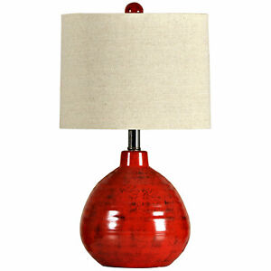 Collective Design L22018DS Signature 22 Inch 60W Portable Table Lamp Light, Red