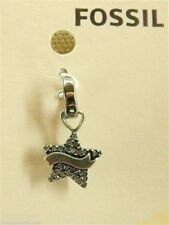 Fossil Star Charm Crystal Star with Vintage Banner Bracelet Charm Stainless New!
