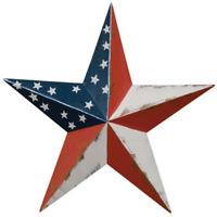 "18"" Rustic Americana Flag Barn Star Metal Tin Vintage Classic Country Home Decor"