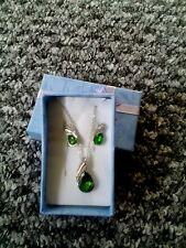 2pcs water drop design silver plated green necklace earrings women jewelry sets