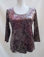 M&S Per Una glitzy gold velvet style with floral pattern 3/4 sleeve top Size 12