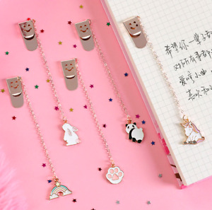 Cute Character Metal Chain Pendant Bookmarks Reading Accessories Stationary