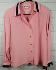 NWT EVAN PICONE Womens Vintage Pink Blouse Gold Button Front Blouse Top  Sz 8