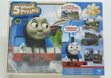 THOMAS TRAIN & FRIENDS 5 Wood Puzzles Storage Box Tray Educational Learn Puzzle