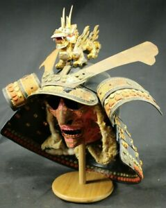 vintage Japanese samurai armor  helmet ( kabuto)+face mask(menpo)+dragon maedate