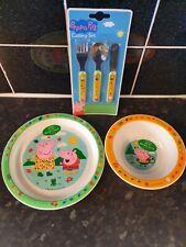 PEPPA PIG CUTLERY SET BOWL PLATE KIDS DINNER KIFE SPOON FORK NEW BPA FREE