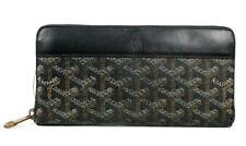 GOYARD $1,275 Black Goyardine Logo Coated Canvas MATIGNON ZIPPY Wallet