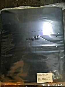 New CALVIN KLEIN HOME Navy Cotton Woven Full/Queen Blanket Sold out