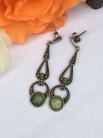 VINTAGE London 1970 ART DECO Style SILVER MARCASITE Moss On Snow JADE EARRINGS
