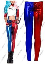 New Womens Red Blue Costume Suicide Squad Metallic Shiny Look Leggings Pants