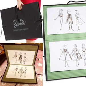 Vintage Reproduction Barbie Portfolio w/ 2 sketches From Busy Gal Mattel Repro