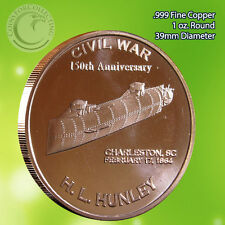 "Civil War ""HL Hunley Charleston SC"" 1 oz .999 Copper Round Civil War Collection"